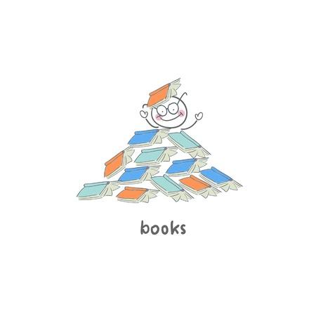 Leser der Bücher. Illustration. Standard-Bild