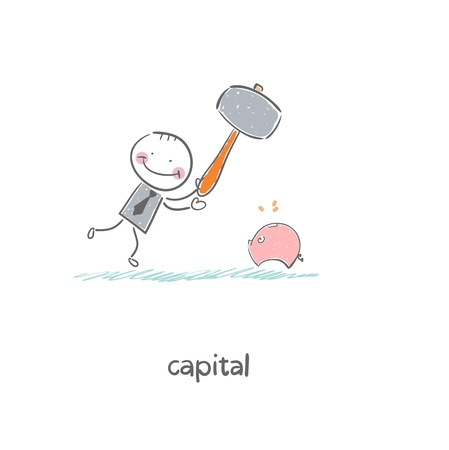 Man breaks piggy bank with a hammer. Illustration. illustration