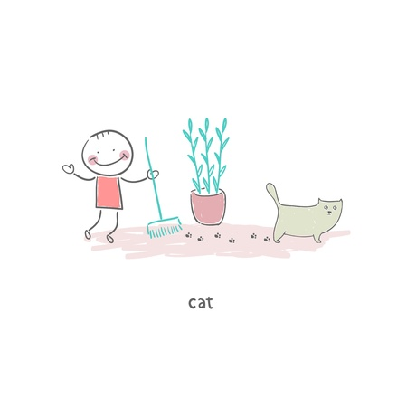 stinking: Man cleaning up after the cat. Illustration.