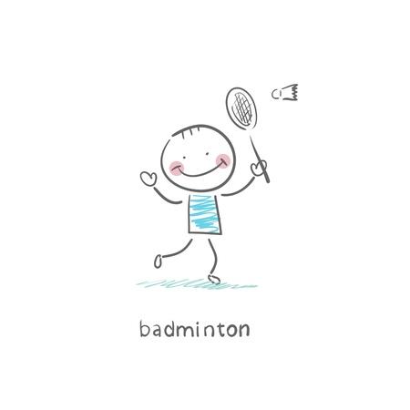 shuttlecock: Man playing badminton. Illustration. Stock Photo