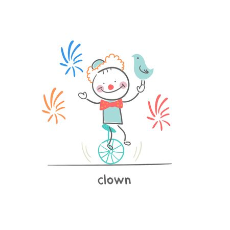 unicycle: Clown riding a unicycle. Illustration.