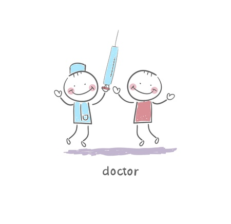 an injector: Doctor Holding Syringe. Illustration.