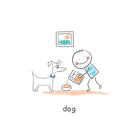 A man feeds the dog. Illustration. illustration