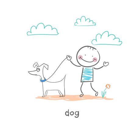 A man walking with a dog. Illustration. illustration