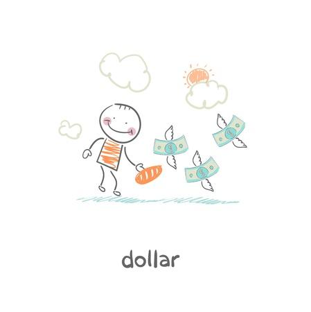 Man and money. Illustration. Stock Illustration - 18716897
