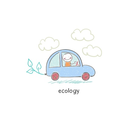 nonpolluting: Eco car Stock Photo