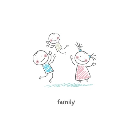 brothers and sisters: Happy family. Illustration.