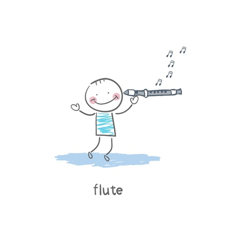 Man plays the flute photo