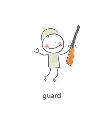 british army: Guard. Illustration. Stock Photo