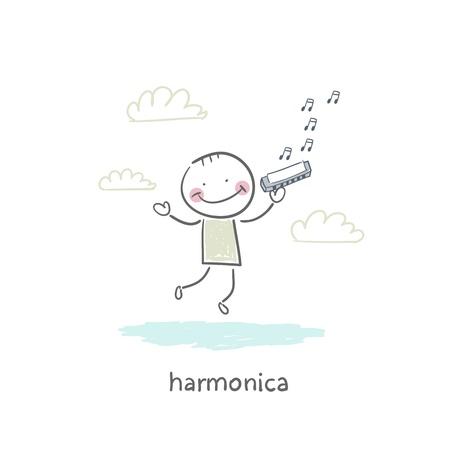 harmonica: Man plays the harmonica