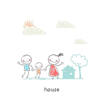 family isolated: Family and home. Illustration.