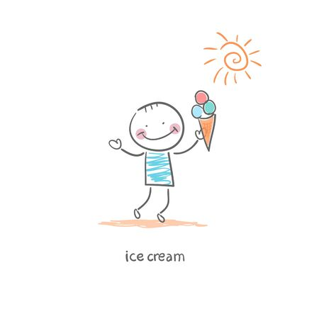 Man eating ice cream. Illustration. illustration
