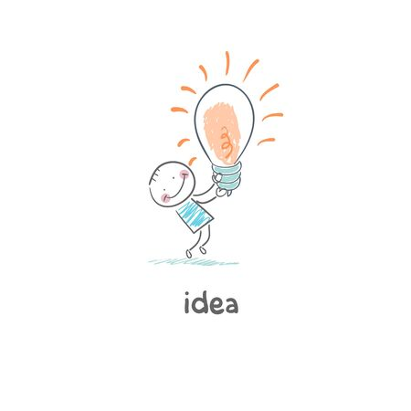 big idea: The Big Idea. Illustration. Man holding a light bulb