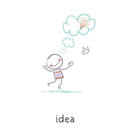 The birth of an idea. Illustration. illustration