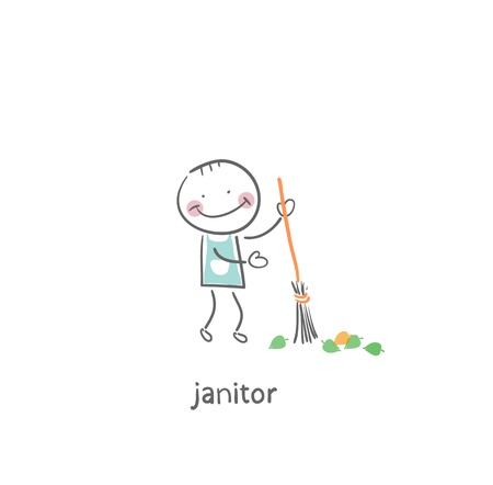 disinfect: Janitor. Illustration. Stock Photo
