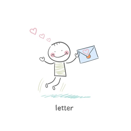 A man and a letter. Illustration. Stock Illustration - 18716613