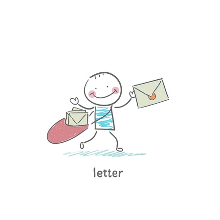 A man and a letter. Illustration. Stock Illustration - 18716732