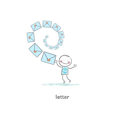 A man and a letter. Illustration. Stock Photo