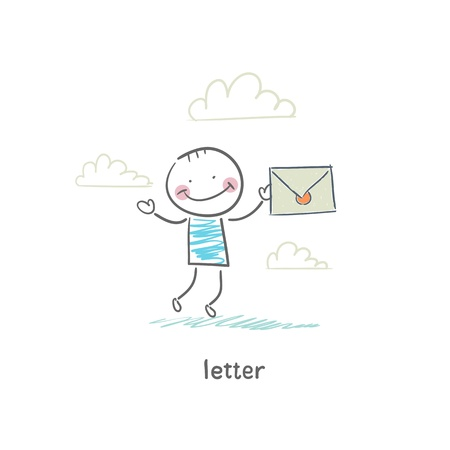 A man and a letter. Illustration. Stock Illustration - 18716647