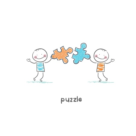 Man and  puzzle. Illustration. illustration