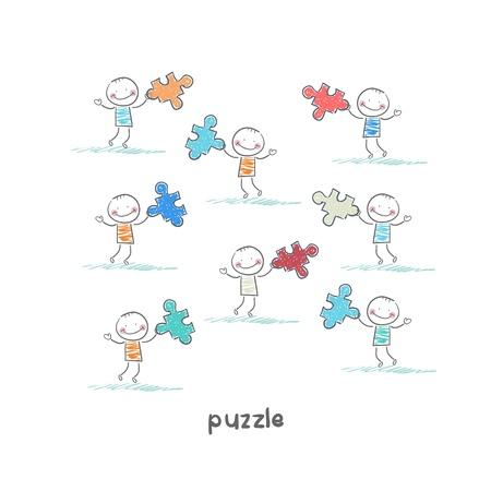Man and  puzzle. Illustration. Stock Illustration - 18716942