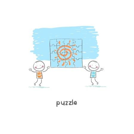 Man and  puzzle. Illustration. Stock Illustration - 18716871