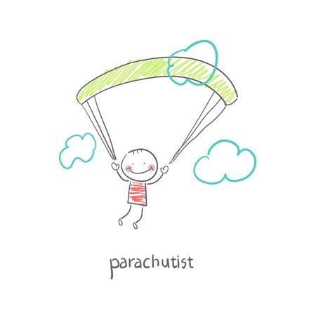 parachuter: Skydiver. Illustration.