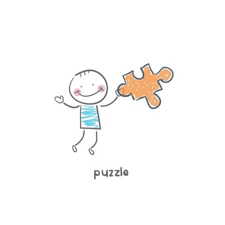 Man and  puzzle. Illustration. Stock Illustration - 18716617