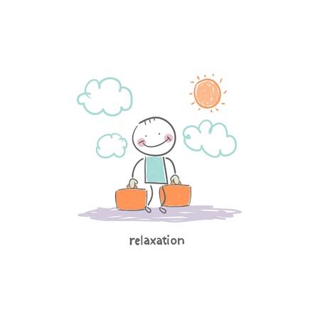 Man on vacation. Illustration. Stock Illustration - 18716706
