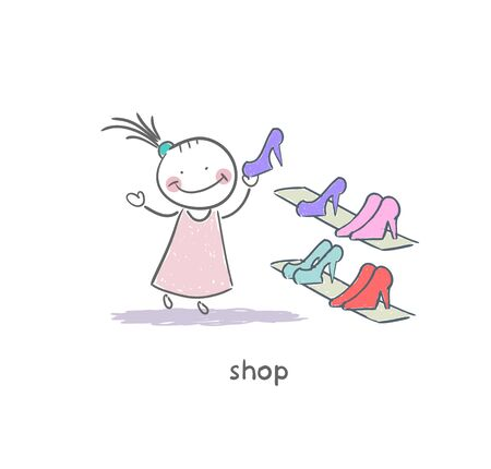 hot woman: A girl in a shoe shop. Illustration. Stock Photo
