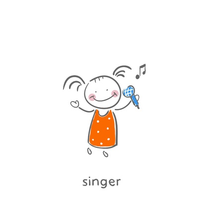 performing: Singer. Illustration.