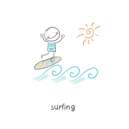 Surfer. Illustration. illustration