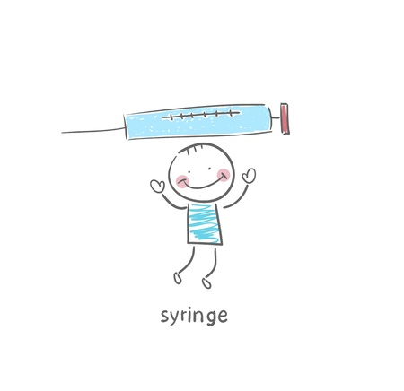 Man and syringe. Illustration. illustration