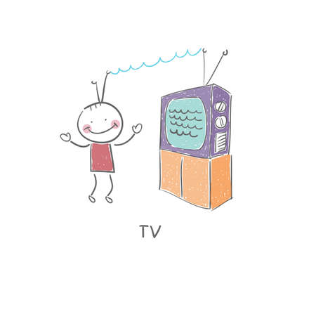 cable tv: TV and man Stock Photo