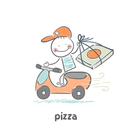 take out food: pizza Illustration