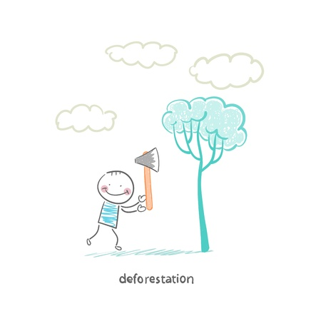 felling trees Vector