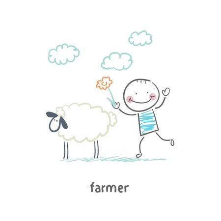 working animals: farmer Illustration