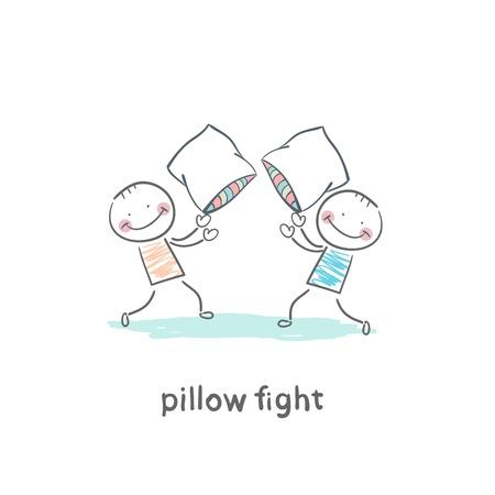 peleando: peleas de almohadas