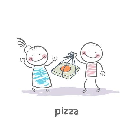 delivering: pizza Illustration