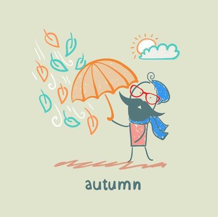 cartoon umbrella: Autumn