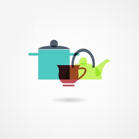 瀬戸物: 食器アイコン  イラスト・ベクター素材