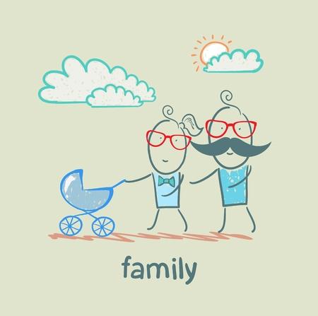 child holding sign: family Illustration