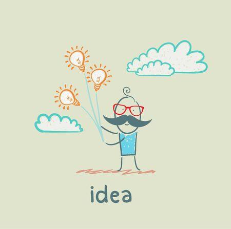 cartoon light bulb: idea Illustration