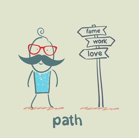 one lane street sign: path Illustration