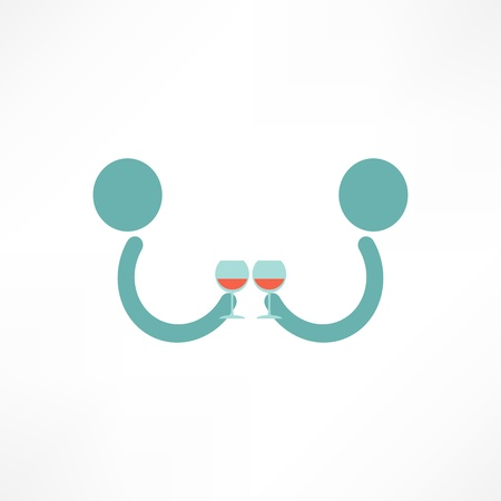 People drink wine Vector