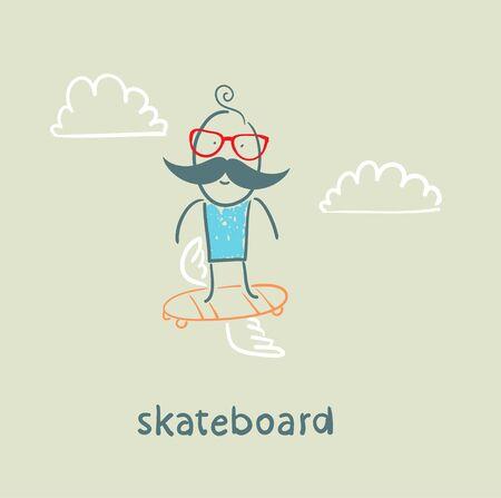 little skate: skateboard Illustration