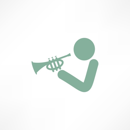 Musician playing trumpet Illustration