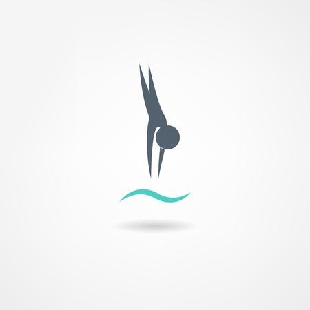 caricaturas de personas: icono de la natación Vectores