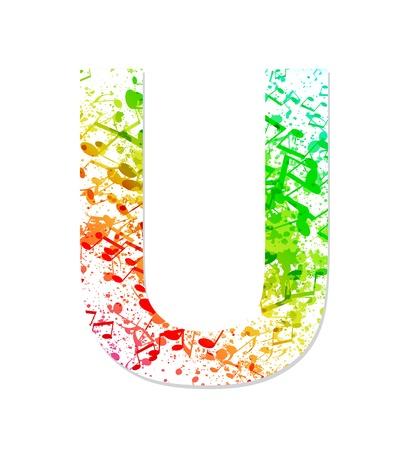 sheet music: Music theme grungy font  Letter U