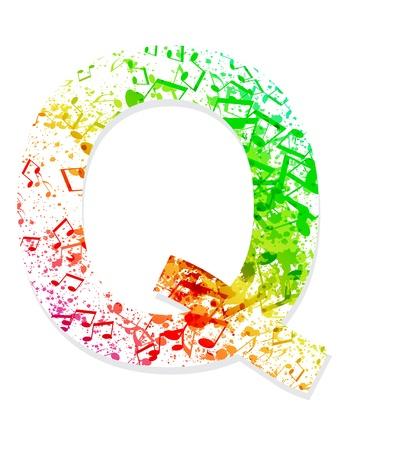 sheet music: Music theme grungy font  Letter Q